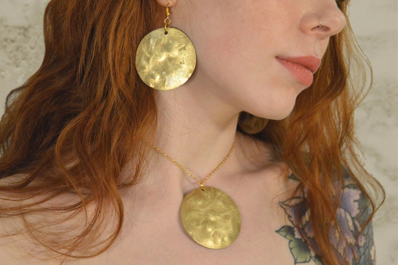 Freckled Brass Jewellery Set / Yellow Metal Pendant & Earrings image 0