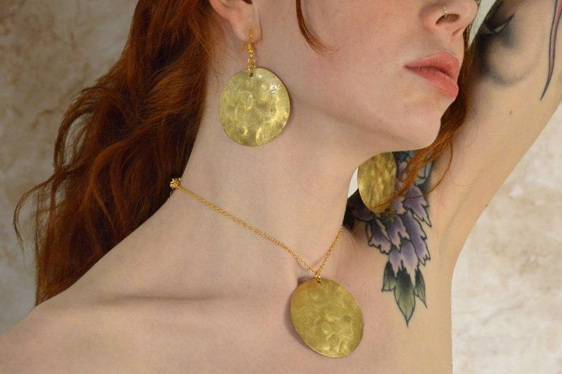 Freckled Brass Jewellery Set  Yellow Metal Pendant /& Earrings  Geometric Jewelry  Gold Set  Circle Pendant  Metal Triangle