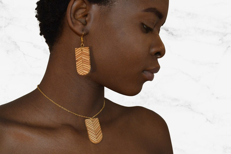Pill Wooden Jewelry Set/ Reclaimed Plywood Earrings / Round image 0