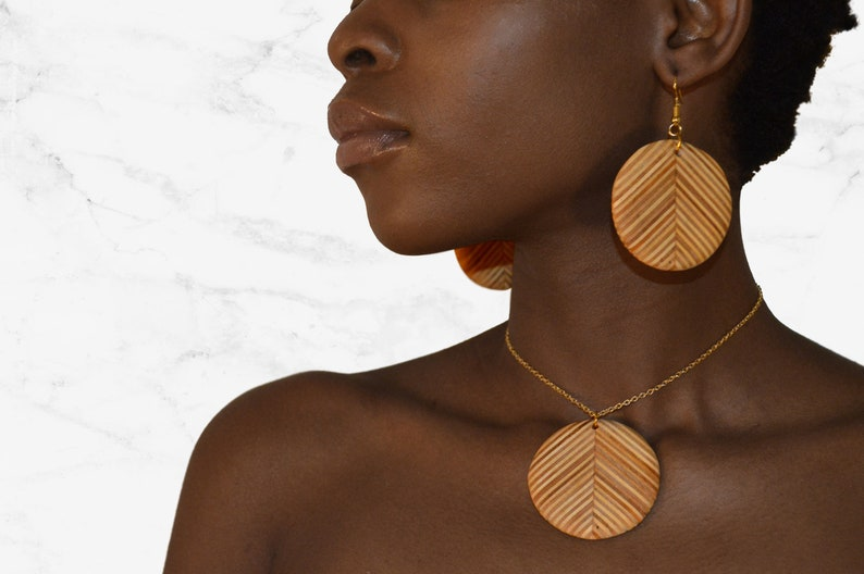 Circle Wooden Jewelry Set/ Reclaimed Plywood Earrings / Round image 0