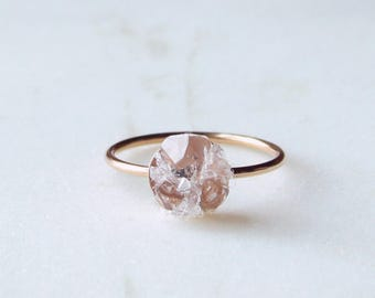Raw herkimer diamond quartz mosaic gemstones 14k rose gold filled ring, rose gold druzy ring rough gemstones crystals crushed gemstones