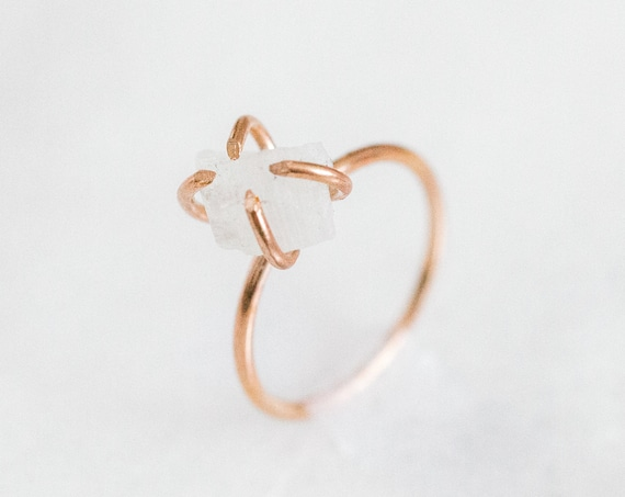 Raw white moonstone gemstone ring in sterling silver, 14k gold, or rose gold fill