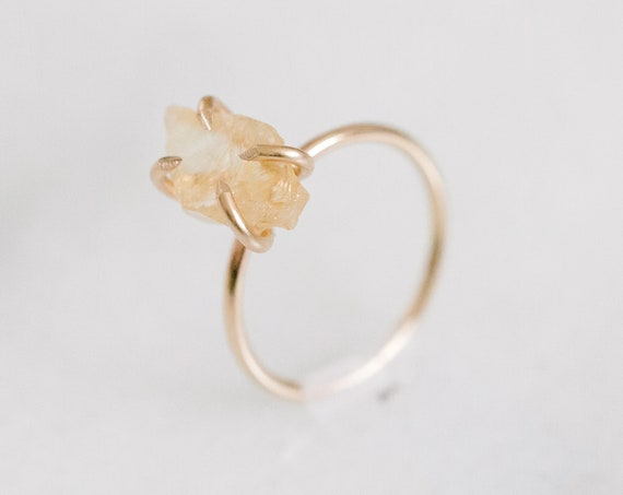 Raw citrine gemstone solitaire ring in sterling silver, 14k yellow and rose gold fill