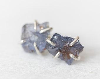 Raw sapphire earrings | rough blue sapphire gemstone stud earrings | sterling silver, 14k yellow or rose gold fill | September birthstone