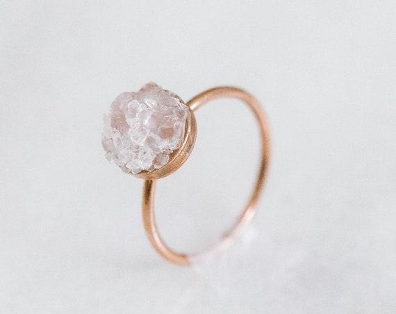 Raw rose quartz mosaic gemstone ring in sterling silver, 14k gold, or rose gold