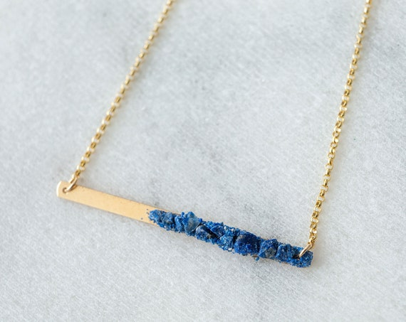 Raw lapis lazuli crystal mosaic bar layering necklace in sterling silver, 14k yellow or rose gold fill