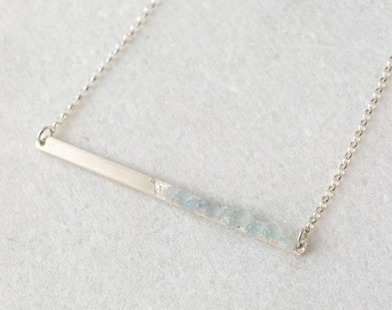 Raw aquamarine and sterling silver crystal mosaic bar layering necklace
