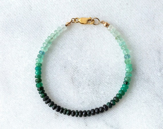 Ombre emerald faceted rondelle gemstone bracelet in sterling silver, 14k gold or rose gold fill