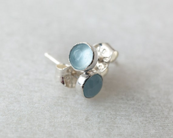 Aquamarine stud earrings in sterling silver, 14k gold or rose gold fill