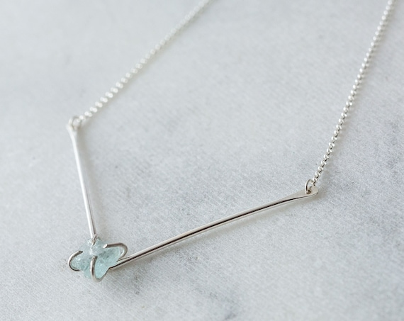 Raw aquamarine and sterling silver V bar necklace