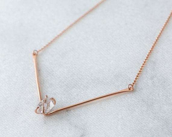 Herkimer Diamond and 14k rose gold filled V bar necklace