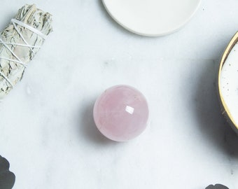 Rose quartz crystal sphere | ethically sourced rose quartz ball from Madagascar | rose quartz ball for love and self love