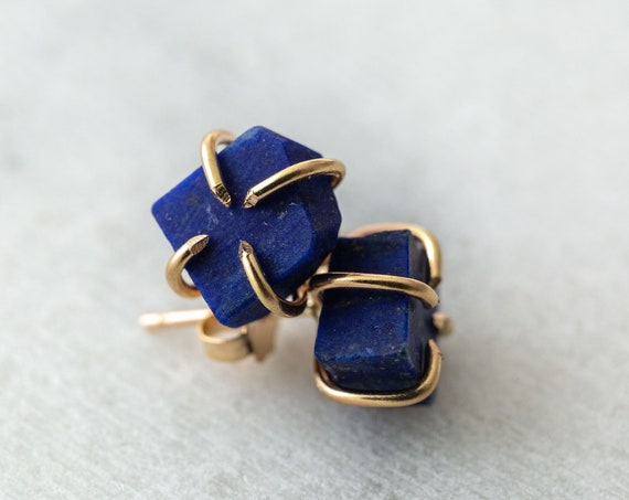 Raw lapis lazuli gemstone stud earrings in solid 14k white, yellow or rose gold
