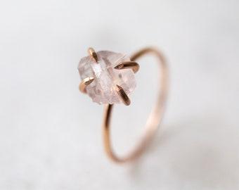 Rose quartz ring | Raw rose quartz gemstone solitaire | solid 14k white, yellow, or rose gold ring | alternative engagement ring