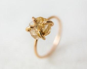 Black Rutile ring Natural Tourmalinated Quartz Gemstone Ring 14K Yellow Gold 925 sterling silver Ring Rose Gold Fill Jewelry