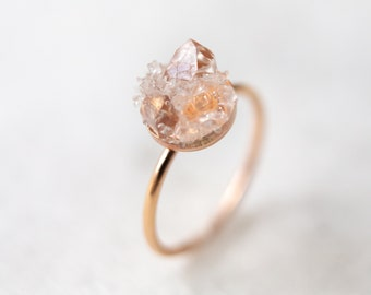 Raw diamond ring | rough herkimer gemstone mosaic ring | sterling silver, 14k gold & rose gold fill | april birthstone gift for her