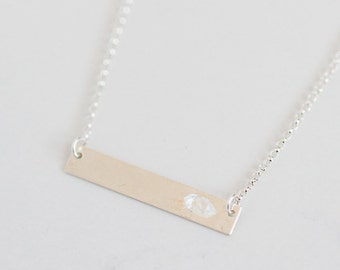 Herkimer Diamond and Sterling Silver bar necklace | April birthstone | delicate silver necklace | bridal jewellery | boho bride