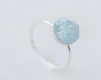 Raw aquamarine ring | rough aquamarine mosaic gemstone stacking ring | sterling silver, 14k gold or rose gold fill | March raw birthstone