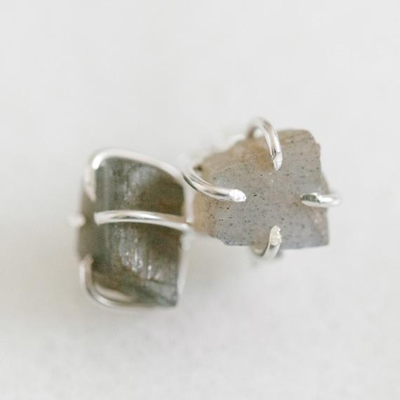 Raw labradorite gemstone stud earrings in solid 14k white, yellow or rose gold