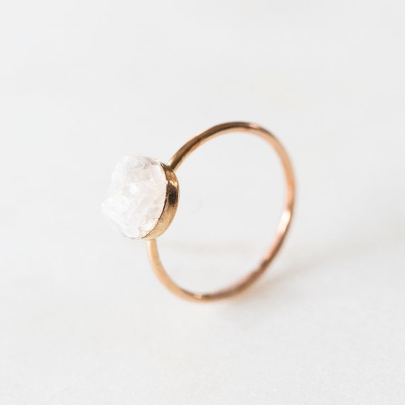 Raw white moonstone mosaic ring in sterling silver, 14k gold, or rose gold fill