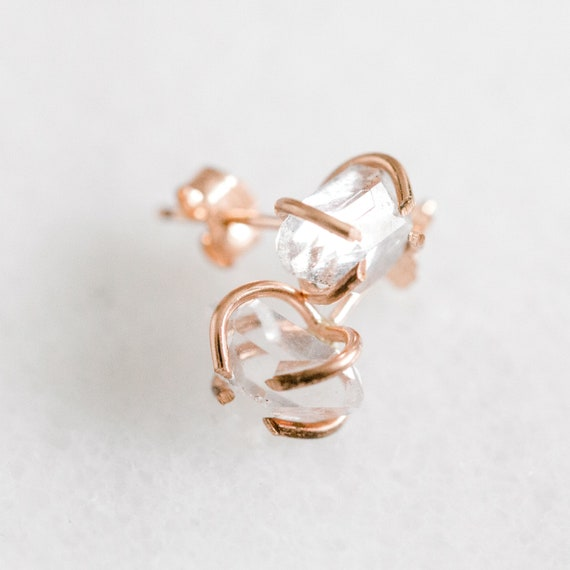 Raw herkimer diamond gemstone stud earrings in solid 14k white, yellow or rose gold