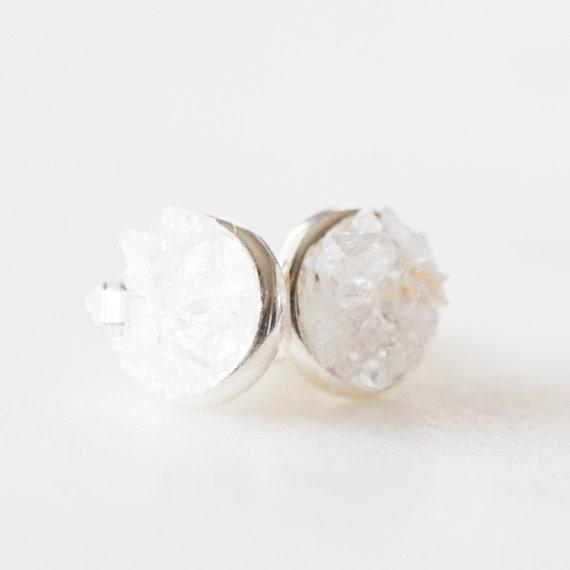 Raw herkimer diamond quartz mosaic stud earrings in sterling silver