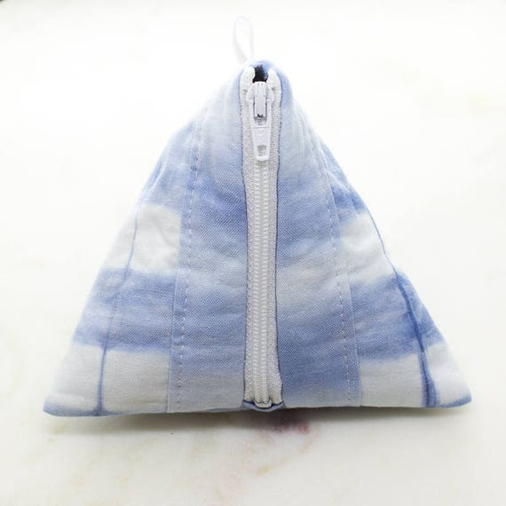 Shibori hand-dyed fabric jewellery pouch with tarnish cleaning lining