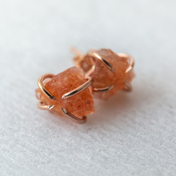 Raw sunstone gemstone stud earrings in sterling silver, 14k gold or rose gold fill