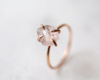 Rose quartz ring | raw rose quartz ring | sterling silver, 14k yellow or rose gold fill ring | alternative gemstone engagement ring