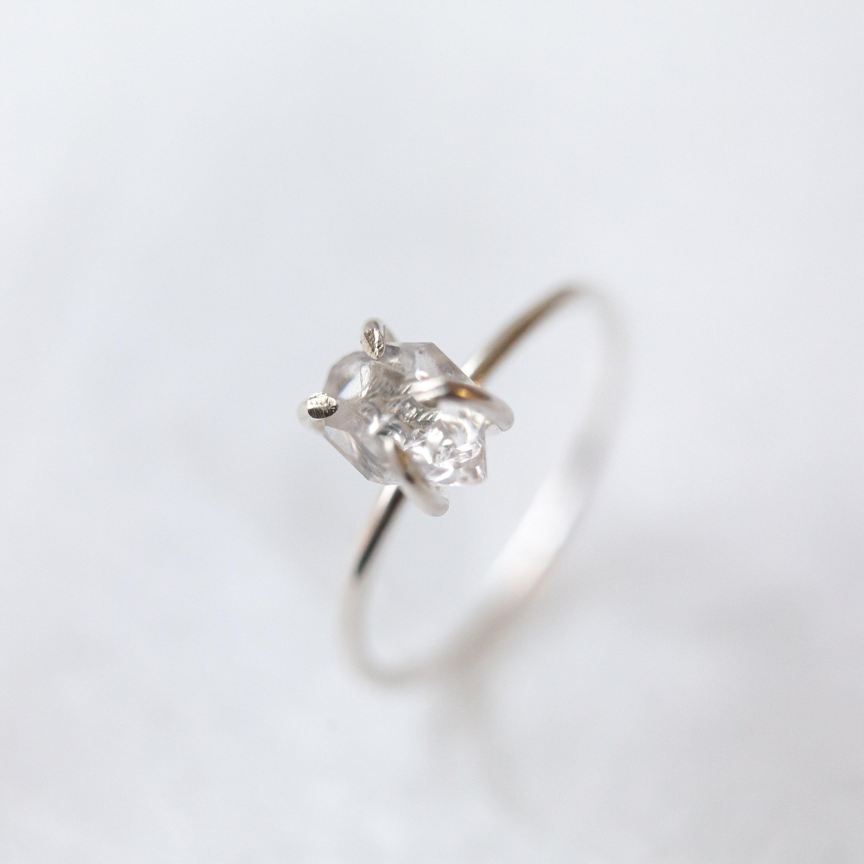 Eternity Ring Multi Stone Ring Rough Crystal Ring April Birthstone Ring Boho Ring Rose Gold Herkimer Diamond Ring Dainty Crystal Ring