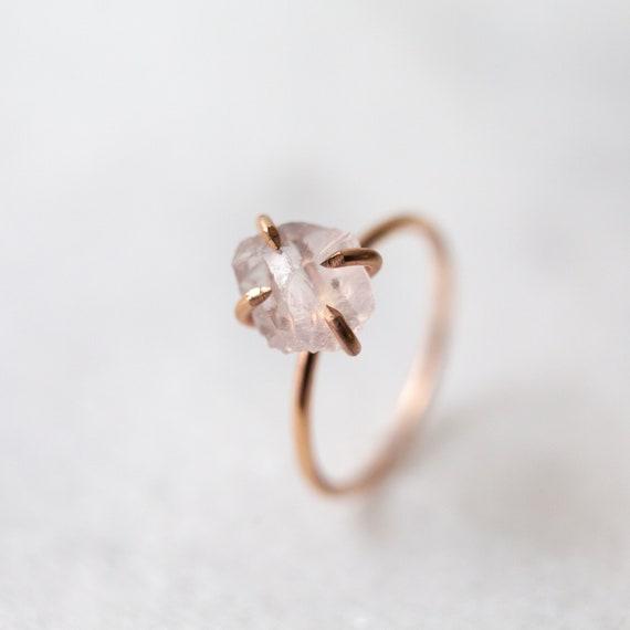 Rose quartz ring Raw rose quartz gemstone solitaire solid   Etsy