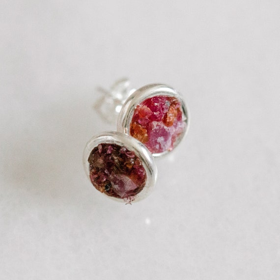 Raw ruby + garnet mosaic gemstone sterling silver stud earrings