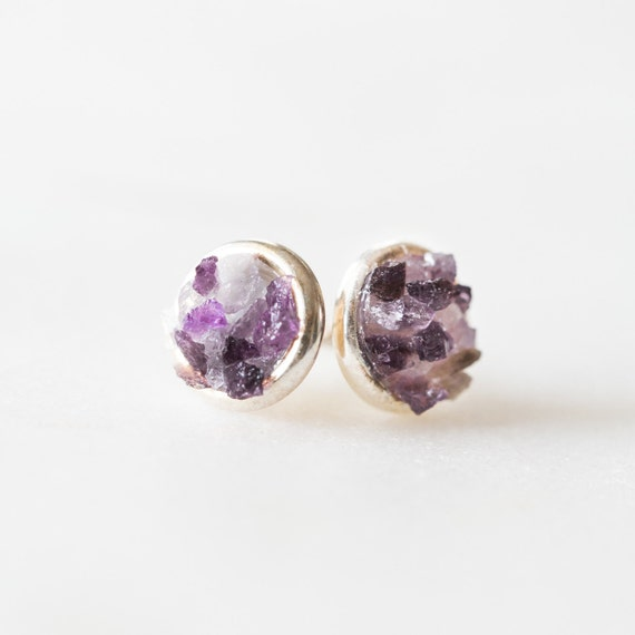 Raw amethyst + crystal quartz mosaic stud earrings in sterling silver