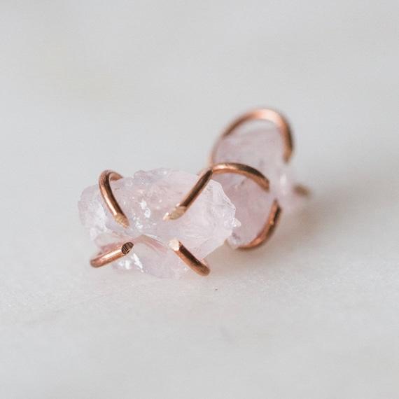 Raw rose quartz gemstone stud earrings in sterling silver, 14k gold, or rose gold fill