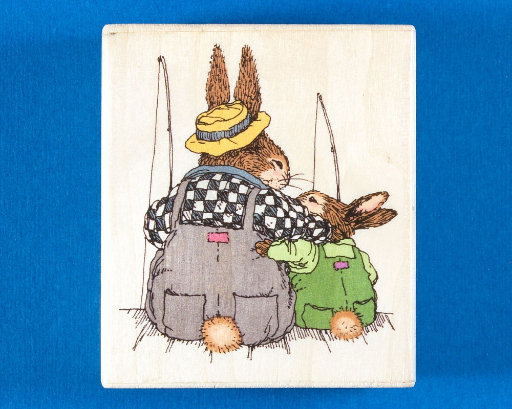 Holly Pond Hill Fishing Buddies Rubber Stamp Rabbit Dad And Etsy