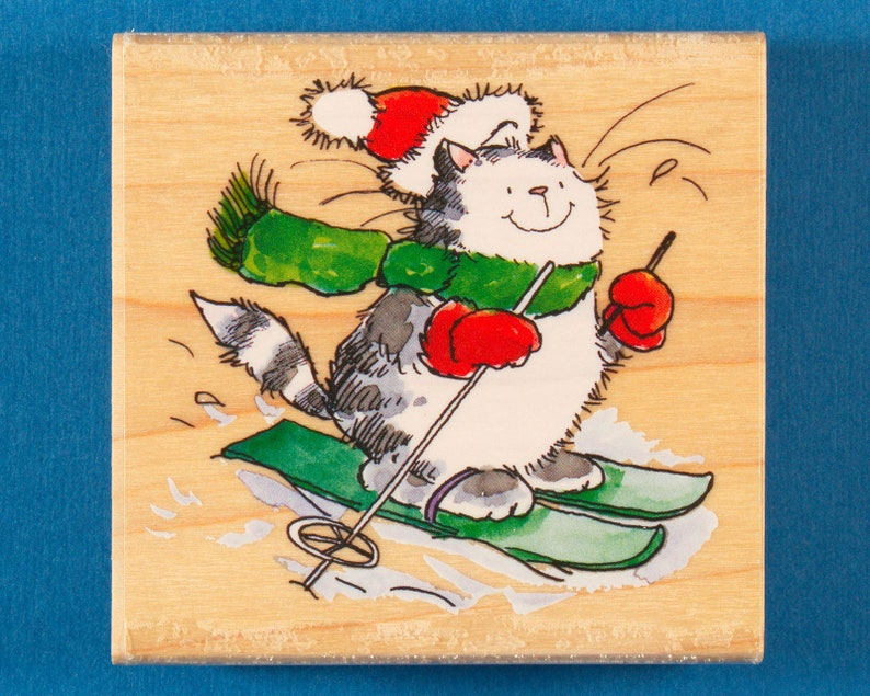 New Penny Black WHITE SLOPES Wood Rubber Stamp Christmas Cat Kitty Santa Ski Fun