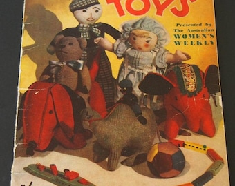 Australian Women's Weekly HOME-MADE TOYS, Vintage Craft Book, 1940's Knitting Crochet Woodworking Sewing, Elephant Dog etc