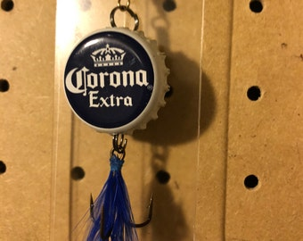 Beer Bottle Cap Fishing Lure / Corona / Him / gift / tackle / guy / man cave / decor / fisher / fisherman / feathers / hunting / bait / hook