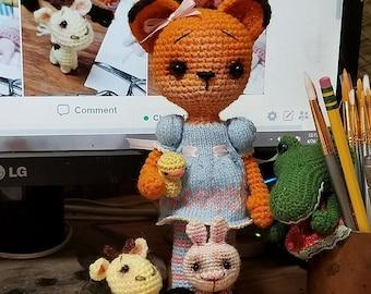 Amigurumi Fox Girl Doll, with tiny ducky toy Crochet Doll by AmigurumiPalooza
