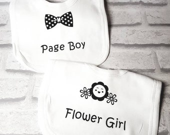 Wedding bib, page boy, flower girl, baby bib, personalised bib