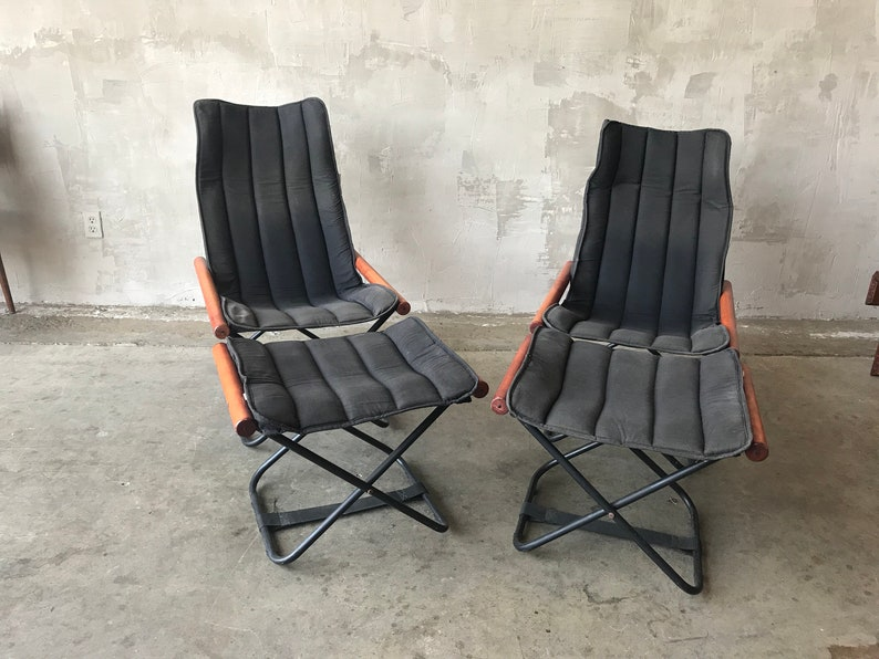 Marvelous Pair Of Tok And Stok Folding Chairs And Ottomans Ocoug Best Dining Table And Chair Ideas Images Ocougorg