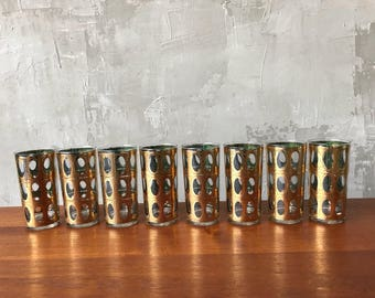 Set of 8   Gold mid century glasses