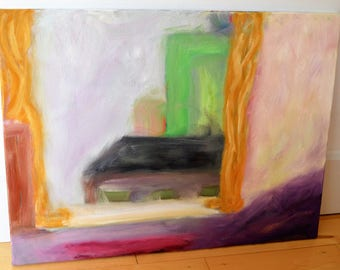 Abstract Oil Painting of City View in Pinks, Orange, Purple, Green and Neutrals