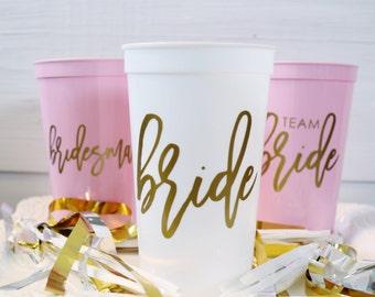 Bachelorette Party Cups, Plastic Party Cups, Plastic Cups, Bachelorette Party, Party Cups, Team Bride, Team Bride Cups, Bride, Bridesmaid