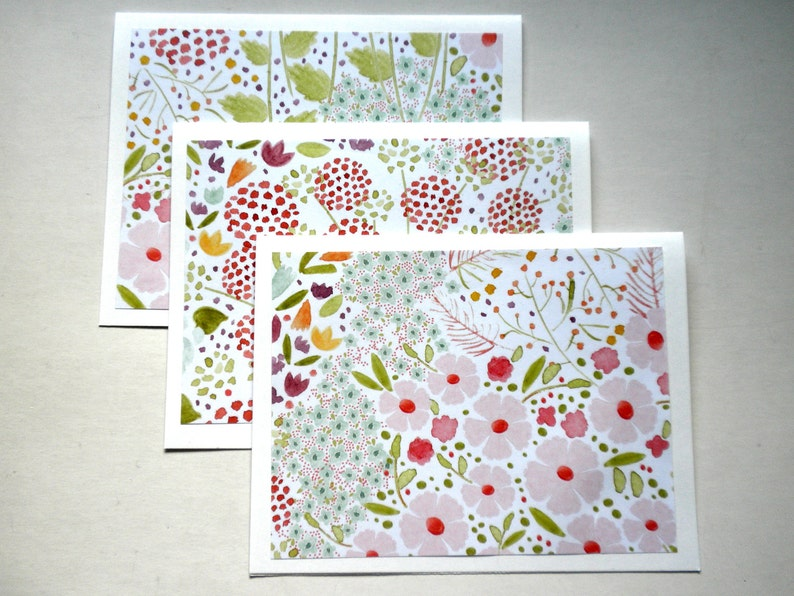 WATERCOLOR FLOWERS Print Note Card Set of Six image 0