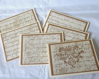 VINTAGE SCRIPT Note Cards Set of Six
