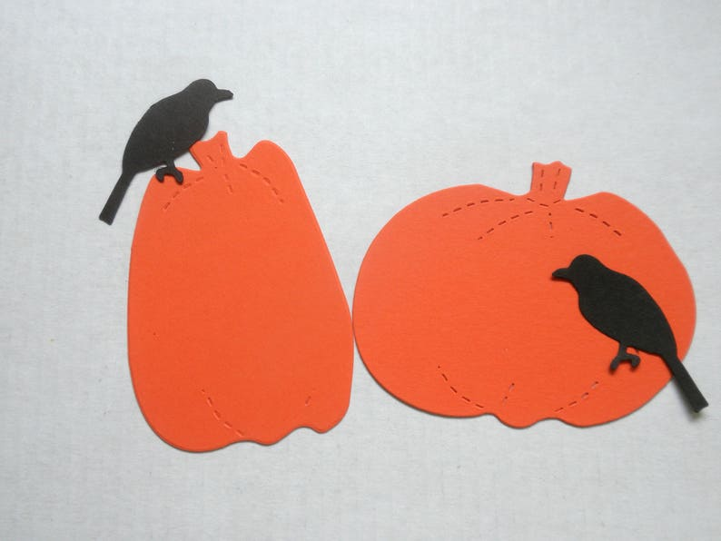 Die Cut PUMPKINS  and Black Crow Set of 24 image 0