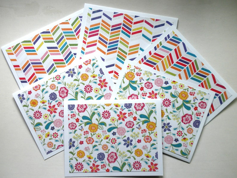 Flower Print and Chevron Print Note Cards Set of Six with image 0