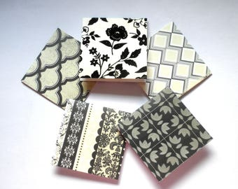 """BLACK AND CREME Mini Note Cards 3""""x 3"""" Set of 20"""