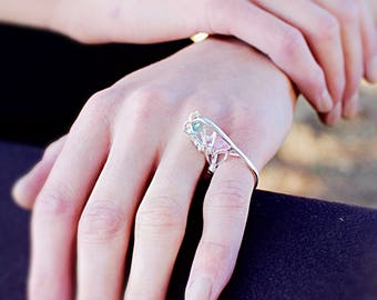 Tourmaline tree stacking fine silver ring